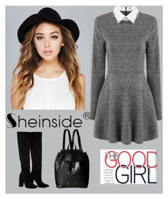 """Shein Long Sleeve Grey Dress"" by ella178 ❤ liked on Polyvore featuring Wet Seal, Anouki, Marc by Marc Jacobs, chic, girly, greydress and longsleevedress"