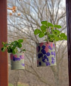 DIY Strawberry Planter from tin cans