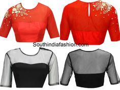 Blouse Designs with Transparent Neckline, net blouse designs, choli with net on back