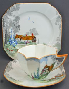 'Thatched Cottage' tea cup & saucer trio by SHELLEY (cottages & accouterments) China Cups And Saucers, Teapots And Cups, China Tea Cups, Teacups, Cup And Saucer Set, Tea Cup Saucer, Kobalt, Antique Tea Cups, Vintage Tea