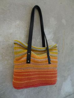 Tunisian crochet bag with leather straps