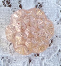 Vintage Glass buttons. Lovely Pink glass flower shape buttons. Clear pink glass. Unusual design and colour.