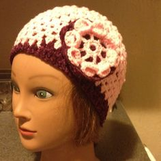 Beautiful Beanie With Flower Handmade