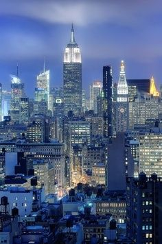 Empire State by night, New York City, United States.