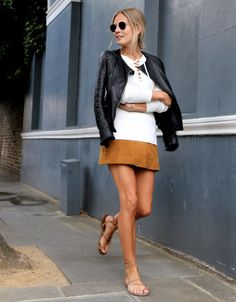 look leather jacket suede skirt