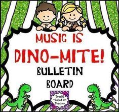 """Decorate your entire music classroom with Dinosaurs, Cave Kids, and musical concepts! You and your students are sure to be delighted by this visually pleasing, eye-catching and engaging huge bundle of prehistoric/dinosaur themed music decor. Are you a """"Mu Music Bulletin Boards, Preschool Bulletin Boards, General Music Classroom, Classroom Themes, Music Education Activities, Teaching Resources, Teaching Ideas, Library Book Displays, Middle School Music"""
