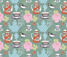 teatime - green fabric by mirabelleprint on Spoonflower - custom fabric