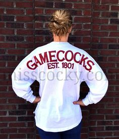 University of South Carolina White Spirit Jersey - Miss Cocky #MissCocky #Gamecocks #WeHeartSpring misscocky.com