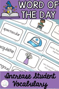 Help your students reach new levels in vocabulary work with this Word of the Day resource. This covers 36 weeks for a total of 144 words that are perfect for kindergarten, first, and second graders. Included are word cards, definition cards, picture cards, 2 versions of quick checks, application, word map, and links to video clips for each word. Kinders, 1st, and 2nd grade students love this engaging vocab review that will keep them learning and reviewing all year round.