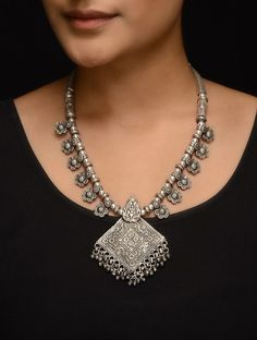 Buy Silver Tribal Necklace Jewelry Necklaces/Pendants Tryst necklaces and bracelets with designs Online at Jaypore.com