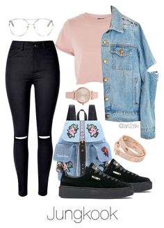 Hanging out with Jungkook by ari2sk on Polyvore featuring polyvore, fashion, style, Topshop, WithChic, Puma, Tory Burch, Vivani, Chloé and clothing