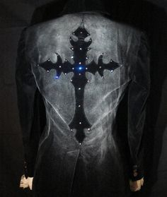 Halloween Gothic cross jacket  Velvet Small black by Urbanhardwear, $150.00