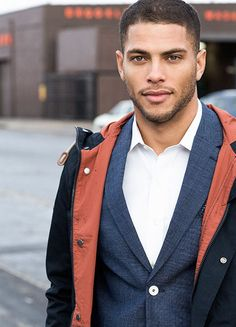 A business suit sans tie day at the office or meeting with an important client. (this pic is actually with the same model that is the Malik inspiration image) Gorgeous Black Men, Beautiful Men Faces, Handsome Black Men, Isha Blaaker, Light Skin Men, Mixed Guys, Greg Vaughan, Hunks Men, Muscular Men