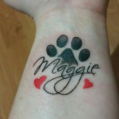 Got this tattoo for my German Shepherd Maggie I love her to death and I always want to have a memory of her if she ever does pass