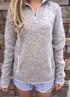monogrammed pullover.