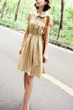Turndown Lace Panel Collar Single-breasted Dots Print Dress