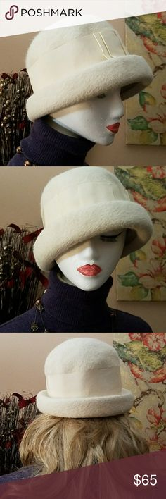 Vintage*Rare* Filbert Orcel Jr. Wool Hat From ParisClassic Ivory Long Wool Cloche Hat. This rare stunner is embellished with matching ivory wide ribbon and bow in the front. The inside brim measures 20.5 inches. In EUC! Filbert Orcel jr. Accessories Hats