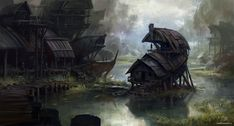 Marshland Condos, by Lane Brown. Matte Painting, Environment Concept, Environment Design, Fantasy Places, Fantasy World, Fantasy Kunst, Fantasy Art, Gaia, Brown Art