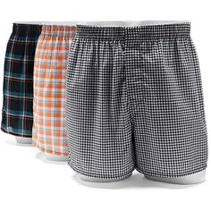 Men's Hanes Ultimate 3-pack Tagless Woven Boxers ($23) ❤ liked on Polyvore featuring men's fashion, men's clothing, men's underwear, black, mens underwear boxers, mens boxers, mens leopard print boxers and mens woven boxers