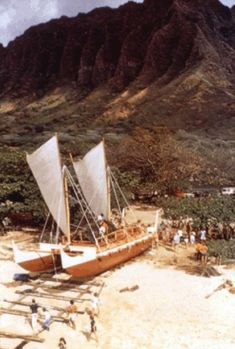 1975 Launching Hōkūle'a, at Hakipuu-Kualoa, Kaneohe Bay, Hawaii.
