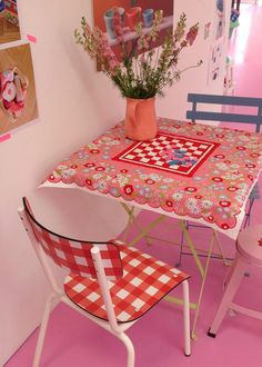 Checkerboard table cloth.