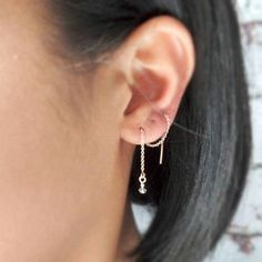 18K Gold Plated Three-tone 3 Hollow Five pointed star Ear Line Threader Long Tassel dangle Earrings