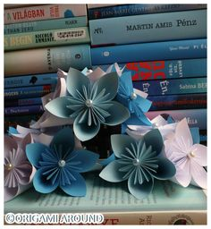 Wedding decoration in front of two pile of good books. :)