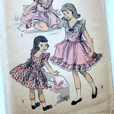 1940s Vintage Sewing Pattern Girls Party Dress by SelvedgeShop