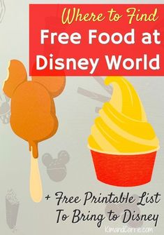 Where to Find Free Food at Disney World in 2019 + Free Printable List to bring to the theme parks! #disney #waltdisneyworld #disneyworld #wdw #orlando #budget #disneyfood