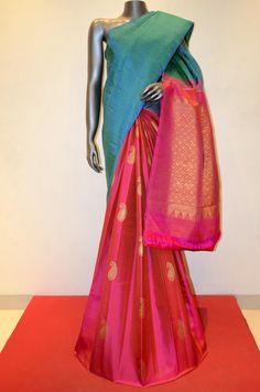 Handwoven Blue and Pink Patli Kanjeevaram Silk Product Code: AB209920 Online Shopping: http://www.janardhanasilk.com/Saree-Collections/Kanjeevaram-Silk-Saree/Handwoven-Blue-and-Pink-Patli-Kanjeevaram-Silk?limit=25