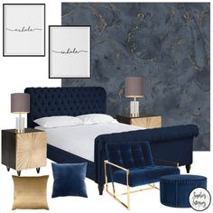 Onyx Marble Metallic Wallpaper Navy Blue Gold - House of Alice Onyx Marble Metallic Wallpaper Navy Blue Gold – Wallpaper from I Love Wallpaper UK Navy Bedroom Decor, Royal Blue Bedrooms, Blue And Gold Bedroom, Navy Bedrooms, Gold Rooms, Blue Rooms, Blue Gold, Condo Bedroom, Blue And Gold Wallpaper