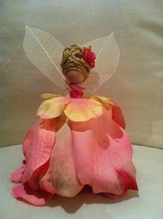 Flower fairy made from silk rose petals