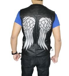 Just The Walking Dead Daryl Dixon Pu Leather Vest Angel Wings Jacket Motorcycle Biker Vest High Safety Vests & Waistcoats