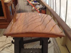 Freshly coated hatch cover on the Schooner Virginia as the restoration progresses. Bristol Finish Traditional Amber.