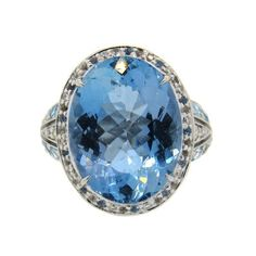 John Hardy 18K Gold Blue Topaz Diamond Ring