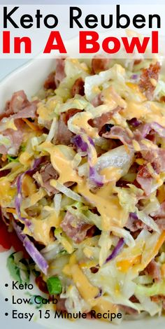 This Keto Reuben In A Bowl is a delicious version of a classic Reuben Sandwich. Serve as light lunch or dinner! This Keto Reuben In A Bowl is a delicious version of a classic Reuben Sandwich. Serve as light lunch or dinner! Ketogenic Recipes, Low Carb Recipes, Beef Recipes, Cooking Recipes, Healthy Recipes, Ketogenic Diet, Easy Recipes, Chicken Recipes, Dukan Diet