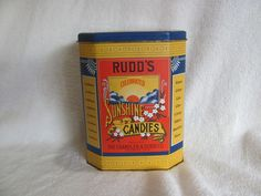 Rudd's Sunshine Candies Tin Storage Box Advertising Collector's Item Hinged Lid #Rudds
