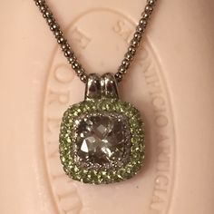 """✨HP✨ Green quartz and Peridot Pendent Stunning combination of stones set high with filigree on all sides with double bale. 18""""braided chain...All metal 925 Sterling. PRICE IS FIRM, UNLESS BUNDLED Jewelry"""