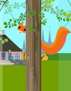 "Roskilde - A squirrel in Byparken - illustrated by #Sivellink ""An Icon a Day"""