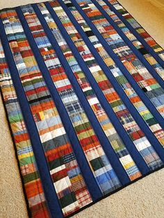 New Listing Scrappy Plaid Manquilt twin quilt handmade quilt. So well designed.Masculine quilt with plaid fabricscrap quilts for menCould make with shirt fabrics Plaid Quilt, Tie Quilt, Shirt Quilt, Quilt Batting, Plaid Fabric, Scrap Quilt Patterns, Patchwork Quilting, Scrappy Quilts, Amish Quilts