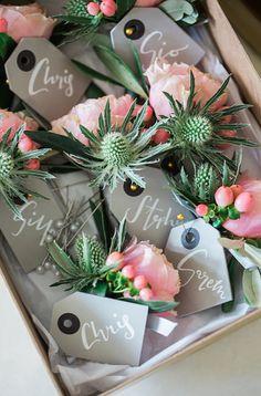 Thistle Peony Buttonholes Glitter Gold Mint Pink DIY Outdoor Garden Beach Wedding http://www.carleybuickphotography.com/