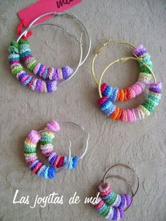 The link does not lead to this image but these are easy to recreate (Crochet in magic ring, in lots of colours ! Thread onto hoop earrings, voila) Love Crochet, Crochet Gifts, Crochet Yarn, Crochet Flowers, Crochet Earrings Pattern, Crochet Bracelet, Crochet Patterns, Bijoux Diy, Fabric Jewelry