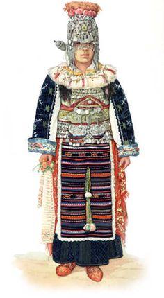 Serbian and macedonian traditional dress from Skopska Crna Gora , Northern Macedonia  / Nosnja Skopske Crne Gore , Makedonija * Bride / nevesta