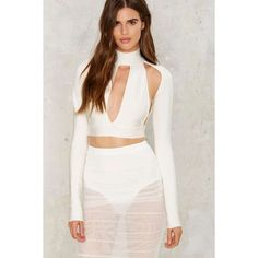 BOSSA Catania Bandage Crop Top ($118) ❤ liked on Polyvore featuring tops, white, white top, cut out crop top, cut-out crop tops, zipper crop top and zip top
