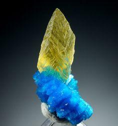 Minerals & Crystals ~ Cavansite with calcite