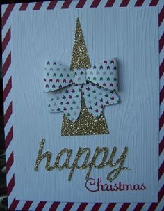 Again the beautiful Sneak Peak Bow Neak Sneak Peek Bow Builder Punch what a treat in store in the new Occasional Catalogue.  Here I used some of my left over cards from the Water- colour winter Simply Created Card Kit