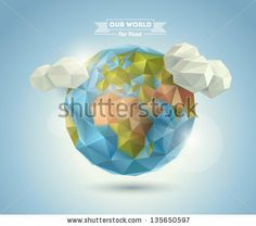 World background in origami style. Vector background. Eps 10 by BSSR, via ShutterStock