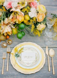 white + gold place setting