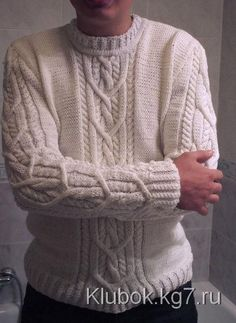 Men in Sweaters Aran Knitting Patterns, Knitting Designs, Knit Patterns, Hand Knitting, Ugly Christmas Sweater, Pulls, Knitwear, Knit Crochet, Men Sweater