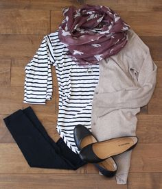 black skinnies, striped top, lightweight cardigan, and scarf